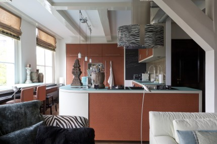 Keuken met leer beklede deurtjes (vooraanzicht)