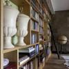 eiken boekenkast met trap (zijaanzicht)