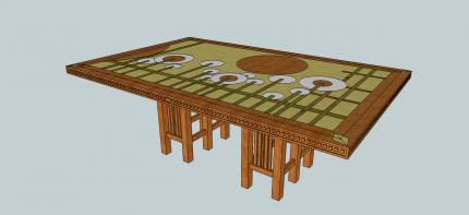 rechthoekige tafel met landschap inleg